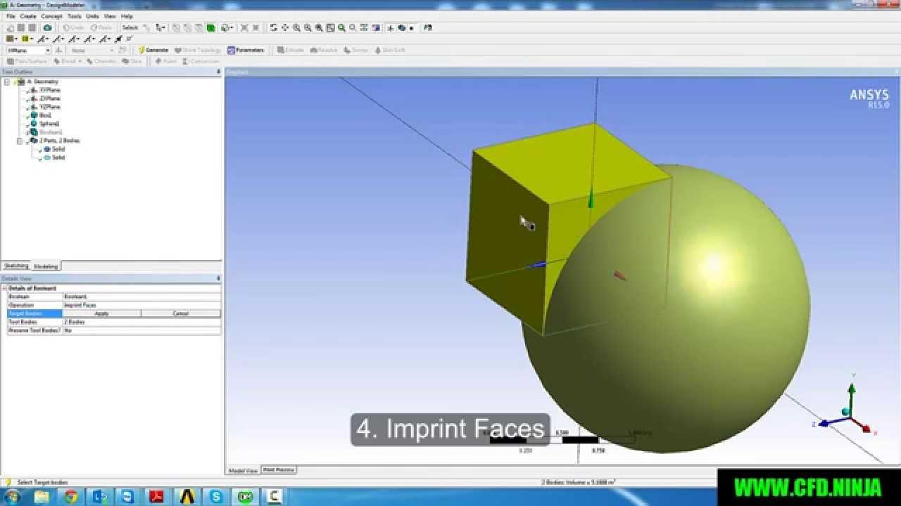 ✅ ANSYS DESIGN MODELER - Basic Tutorial 4 - BOOLEAN