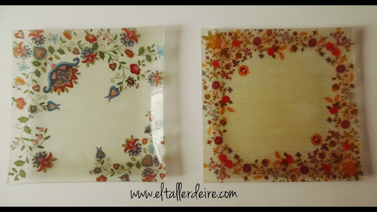 C mo hacer bandejas cuadradas con decoupage youtube for Espejos de madera vintage