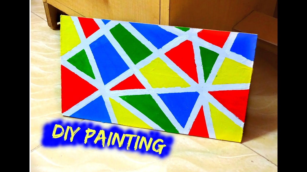 Simple And Colorful Abstract Painting Using Acrylics And Masking - Tape painting