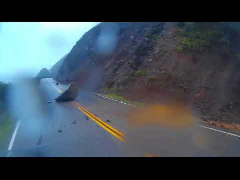 "Big Sur highway during ""The Great Storm of 2017"""