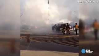 70 year old grandma pulls disabled man from burning van