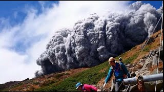 Japan's Mount Ontake volcano erupted/eruption, killing 34 people, report BBC (corrected aspect)(Breaking news Japan's Mt Ontake volcano erupts, killing 34 people, report BBC news 28th sept., 2014-09-27T11:00:26.000Z)