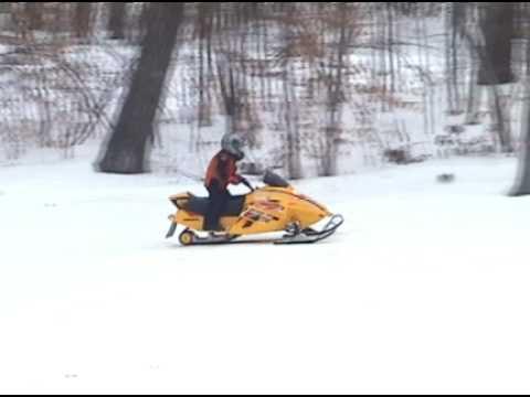4-year old drives Ski-doo Mini-Z snowmobile
