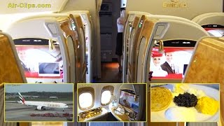 Emirates Boeing 777-300ER First Class FULL FLIGHT Hamburg-Dubai + Chauffeur & Lounge. [AirClips]
