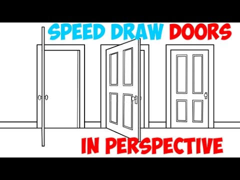 Speed Drawing Two Point Perspective Tutorials of Doors Opening and Closing Easy Quick Drawing  sc 1 st  YouTube & Speed Drawing Two Point Perspective Tutorials of Doors Opening and ...