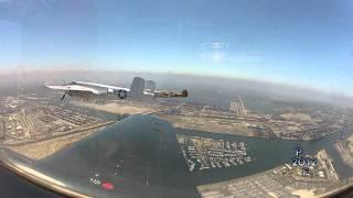 Warbird formation flight over USS Iowa and Long Beach