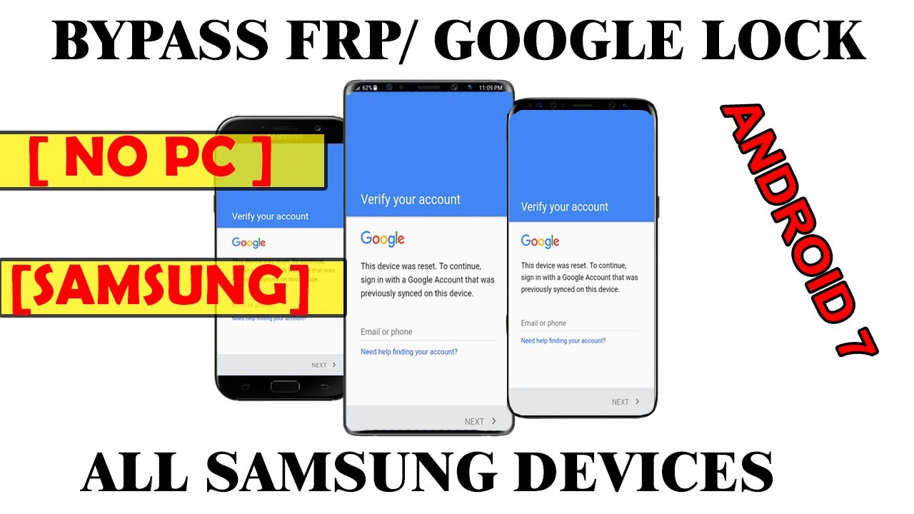 NEW - Bypass Google Account Lock FRP on all Samsung Android 7 devices