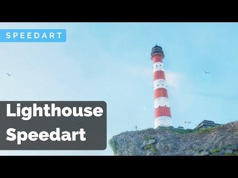 Lighthouse on a cliff - Full scene creation (Speedart)
