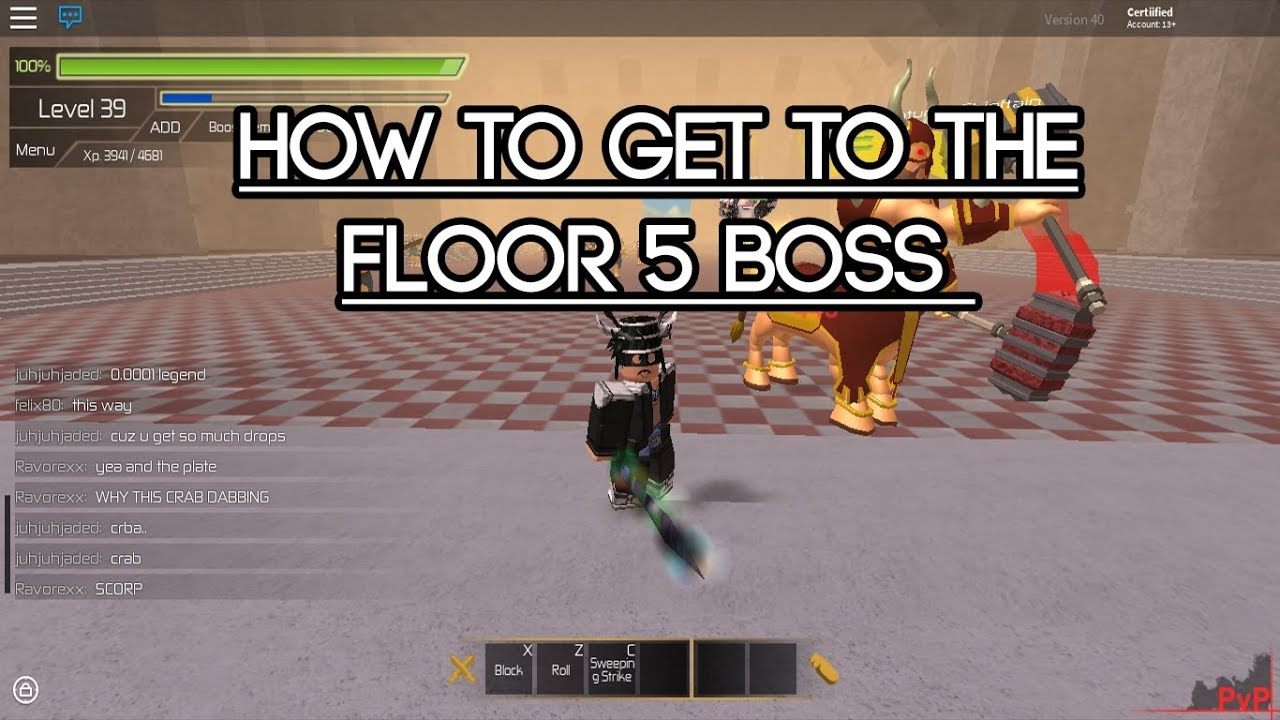 roblox swordburst 2 how to get to the floor 5 boss youtube
