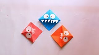 How to make paper bookmark step by step | Easy paper Monster Bookmarks |