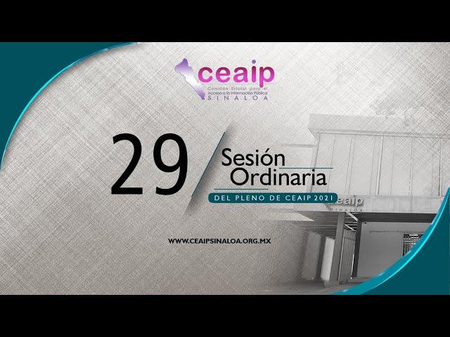 Sesión Ordinaria de Pleno No. 29/2021