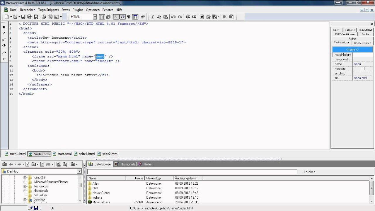 HTML-Tutorial - Seitennavigation mit frames , tabellen erstellen ...
