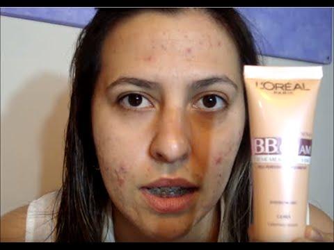 BB Cream Loreal - Cobertura em pele com Acne Tutorial