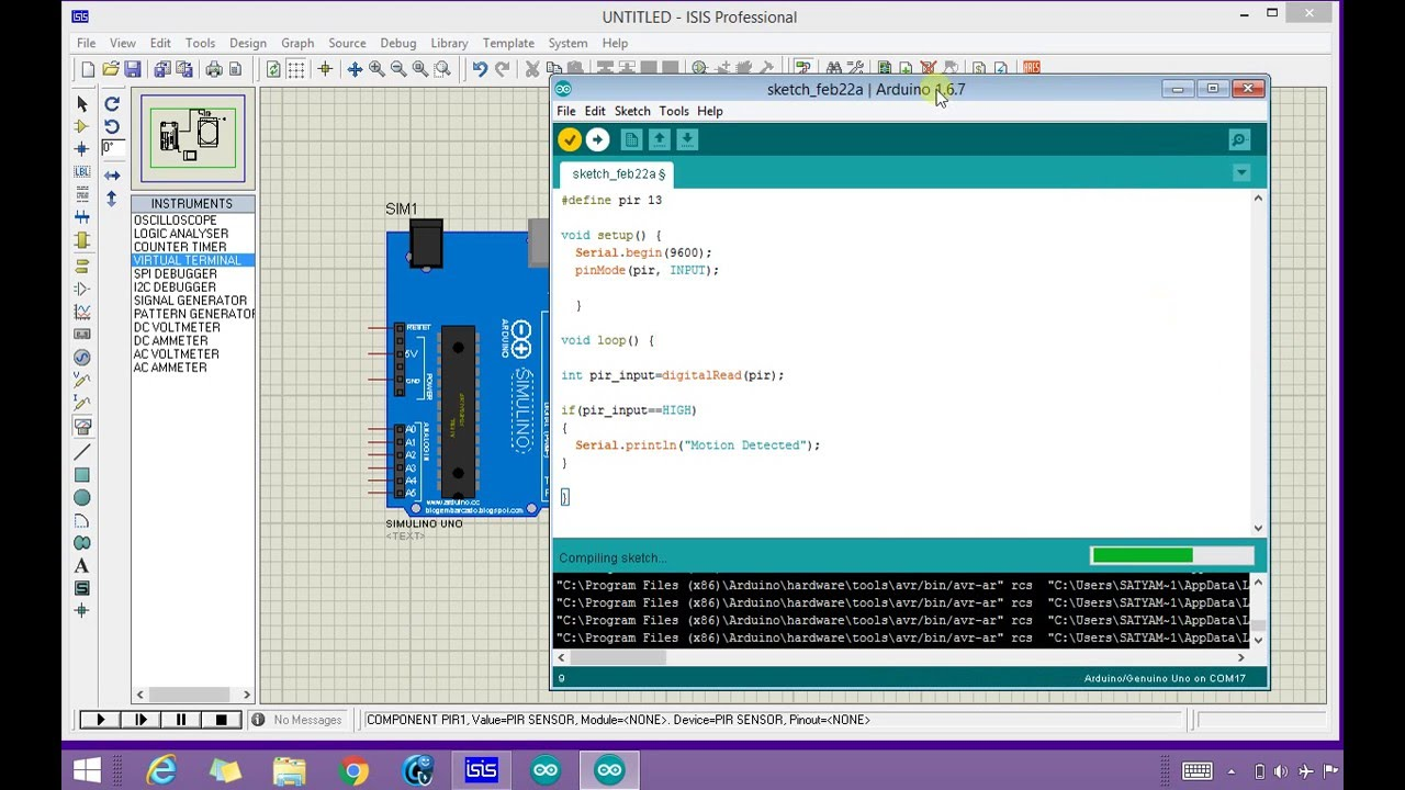 Pir Sensor Arduino Simulation In Proteus Youtube Motion Sensors Circuit Using Integrated Pyroelectric