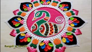 Simple peacock rangoli design for Holi l Holi rangoli designs with colours l हैप्पी होली रंगोली