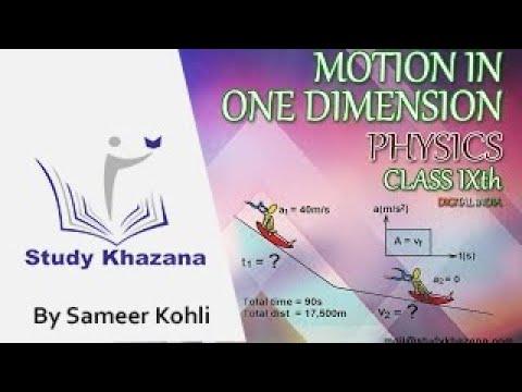 Motion In One Dimension Physics Class IX Study Khazana