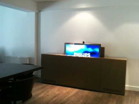 Sideboard Mit Tv Lift sideboard with integrated tv - youtube