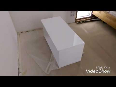 Глянцевая тумба под TV сборка на Domino