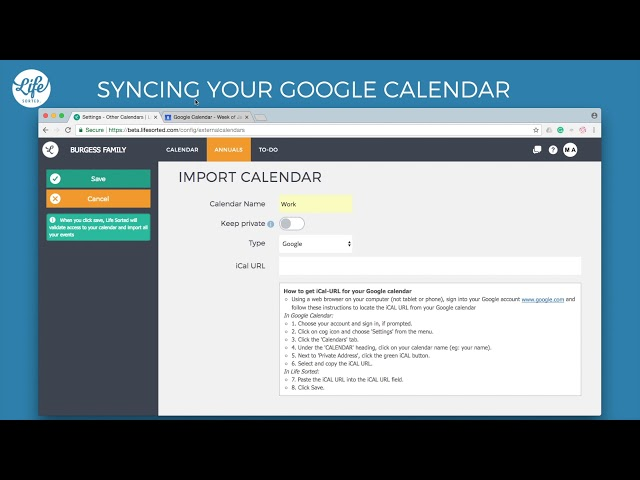 Syncing your Google Calendar