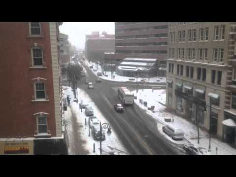 Snow in downtown Springfield