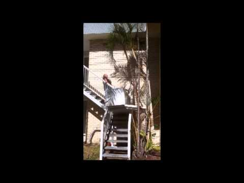 how to move a fridge downstairs youtube. Black Bedroom Furniture Sets. Home Design Ideas