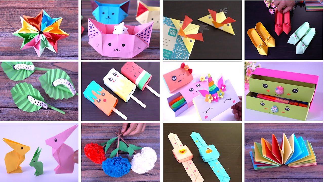 Top 10 coolest craft ideas Easy DIY Art ideas for school projects  Origami crafts  paper gift ideas