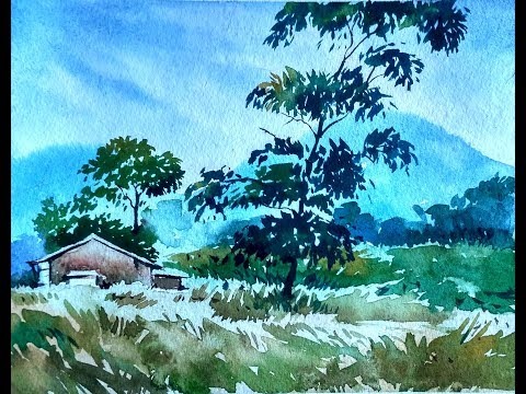 Watercolor Painting the village | Paint with david