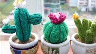Восхитительные цветы кактусы вязанные крючком. 30 идей(Все, что вяжется крючком - вызывает восхищение. Вот и вязанные цветы кактусы крючком также не обошли наше..., 2016-02-08T12:55:09.000Z)
