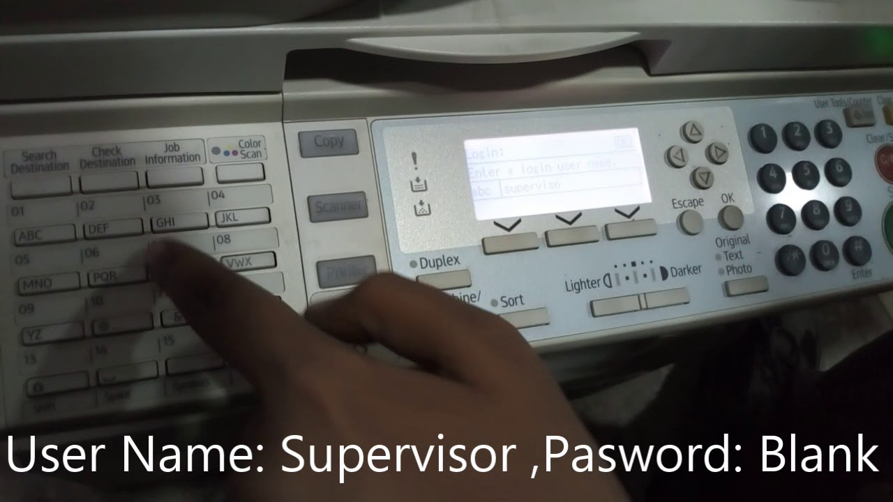 Ricoh mp201 Admin Password reset