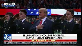 POTUS Trump Walks on Field at #NCAA Football Final - Then STANDS AND SINGS NATIONAL ANTHEM