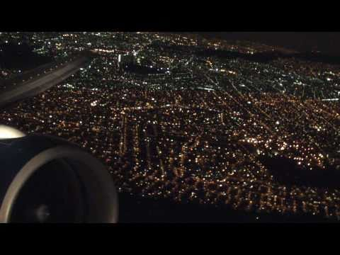 Aeromexico Boeing 777 - take off in Mexico City at night, landing in Sao Paulo Guarulhos