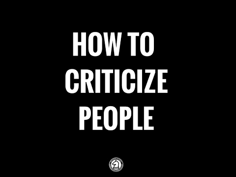 How To Criticize People