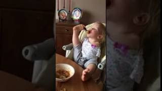 Inspiring video: Baby with disability eating using her feet