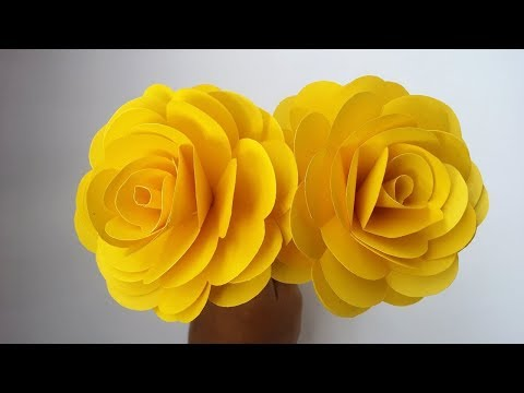 DIY Yellow Rose Flowers With Paper 2019  |  How To Make Origami Flower Very Easy At Home