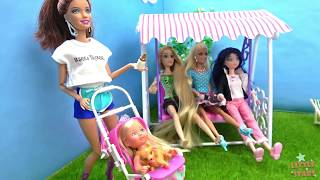 Playing with Dolls - Princesses and Barbie in the Park Playing with Swing Playset