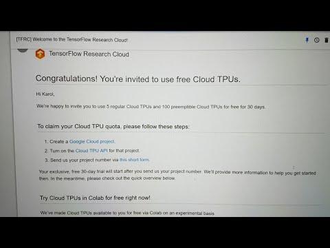 Dostałem 105 TPU! Grant od TensorFlow Research Cloud! - YouTube