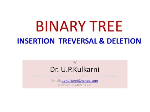 Binary tree : Insertion, Traversal and Deletion of node : By