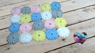 Pastilles fleurs pour couverture tapis crochet / Flowers for blanket or carpet (english subtitles)