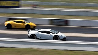 Lamborghini Aventador vs Huracan vs Gallardo vs Murcielago DRAG RACE Loud Sounds BullFest 2017