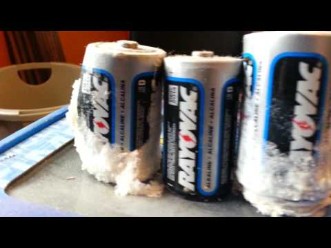 Really Corroded Batteries -- Ray-O-Vac, Duracell, and a mystery?