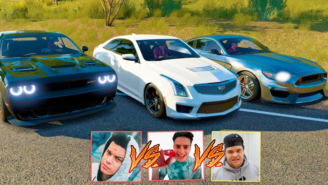 QUEM LEVA? EDUKOF VS JON VLOGS VS PORTUGA PC - MUSTANG VS CADILLAC VS DODGE - FORZA HORIZON 3