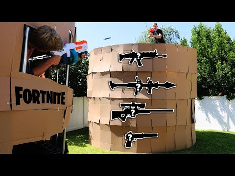 NERF Fortnite PORT-A-FORTRESS IRL 1 VS 1 (MYSTERY WEAPONS)