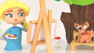 FROZEN ELSA CARTOONS ❤ Funny Pranks ❤ Superhero Play Doh Stop Motion For Kids