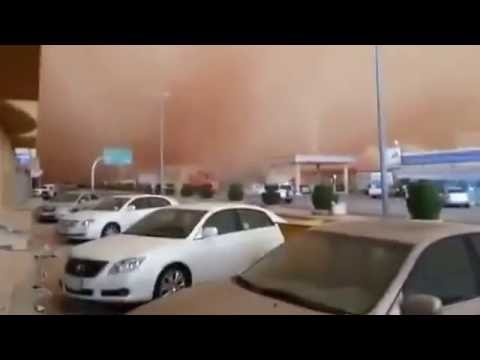 Sand dust storm rain in Qatar today 2018
