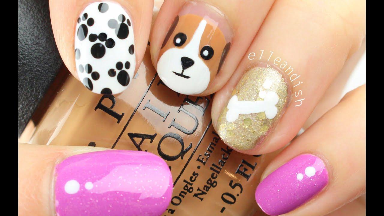 EASY PUPPY DOG Nail Art! - YouTube