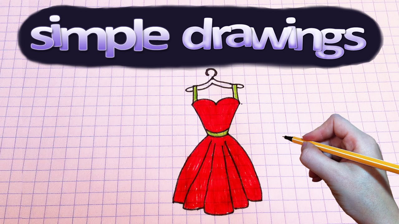 Simple drawings #56 How to draw red dress / drawings for ...