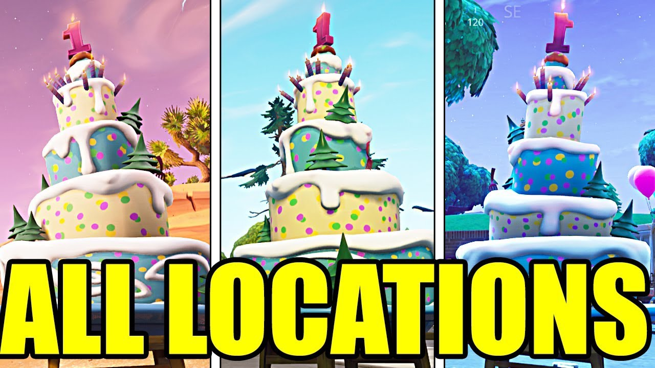Fortnite Birthday Cake Challenge: ALL BIRTHDAY CAKE ...