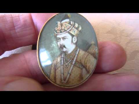 2 x Antique Indian Watercolour Miniature Portrait Brooches. 9ct Gold Mounts