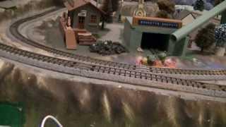 Kato N Scale Demo Ge Es44ac Engine Pulling Coal Train.