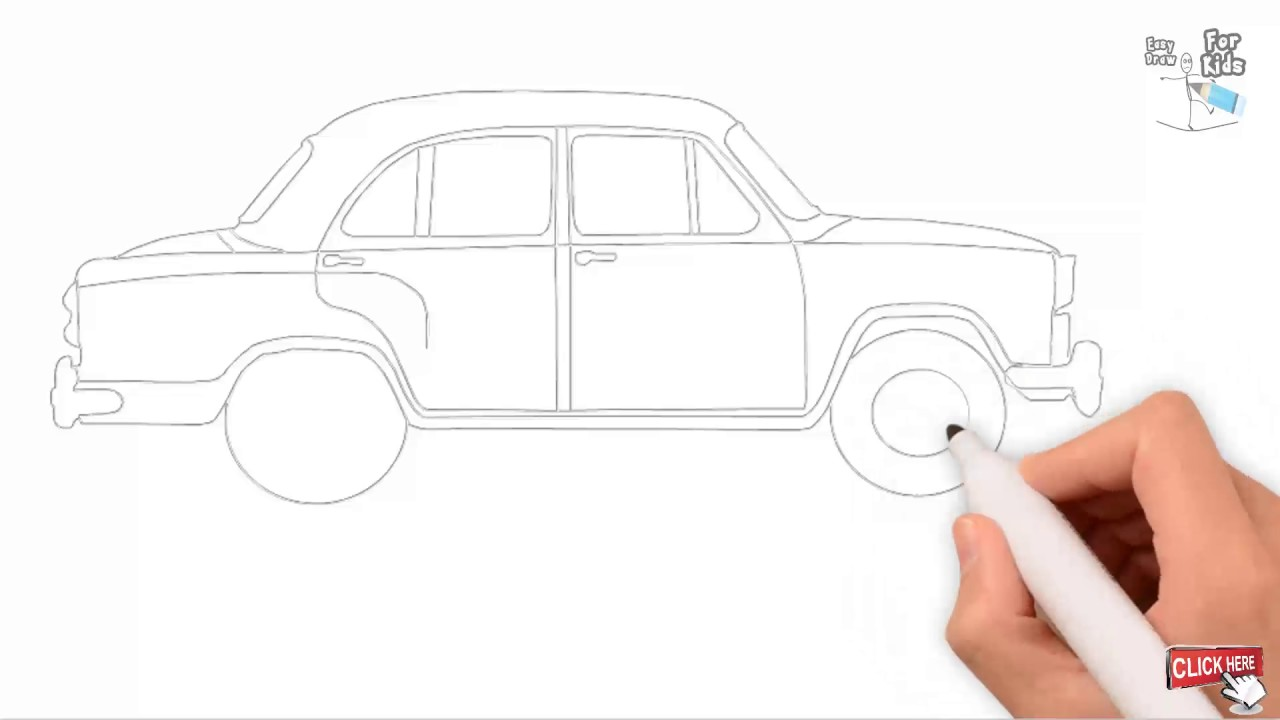 Car Drawing Tutorial For Kids Outline Draw A Car || Draw Easy For Kids